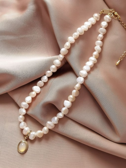 Pearl Necklace Brass Imitation Pearl Geometric Vintage Necklace