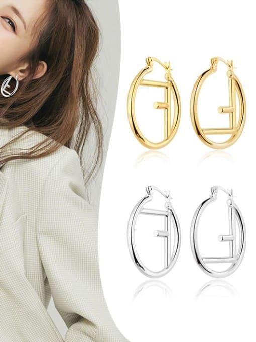 OUOU Brass Hollow Geometric Minimalist Huggie Earring 2