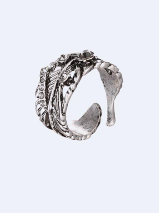 Desoto Alloy Rhinestone Irregular Vintage Band Ring 0