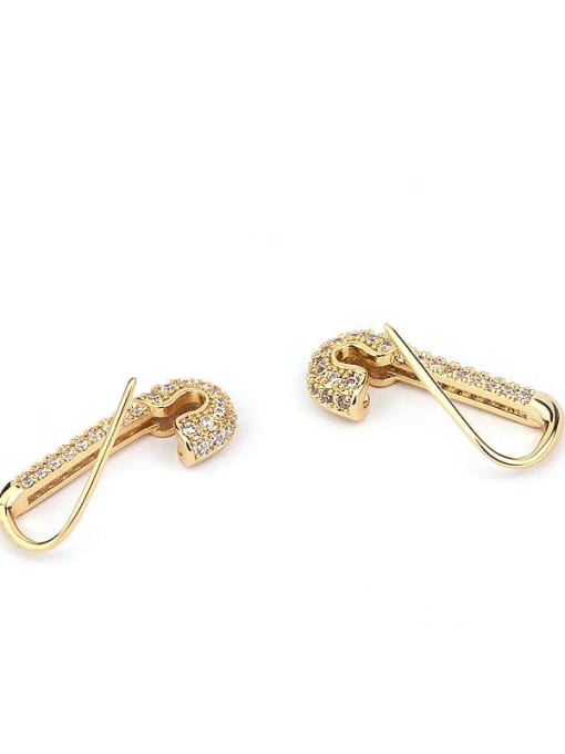 HISON Brass with Cubic Zirconia White Round Dainty Stud Earring 4