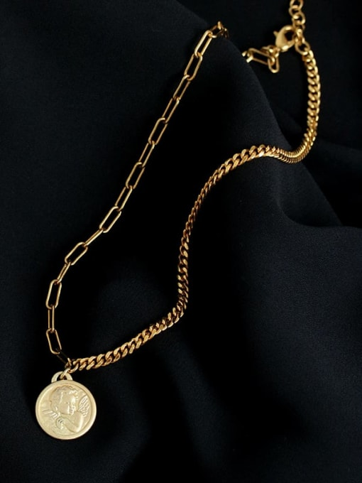 Five Color Brass Angel Vintage Hollow Chain Necklace