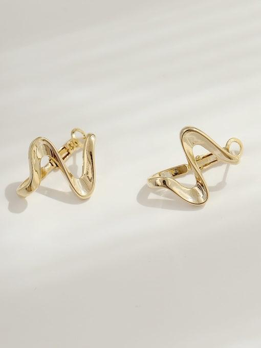 HYACINTH Brass Smooth Irregular Minimalist Stud Earring 0