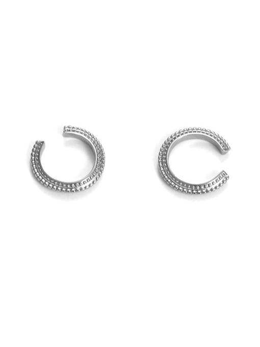 White gold pair Brass Geometric Hip Hop Single  Ear clip Earring