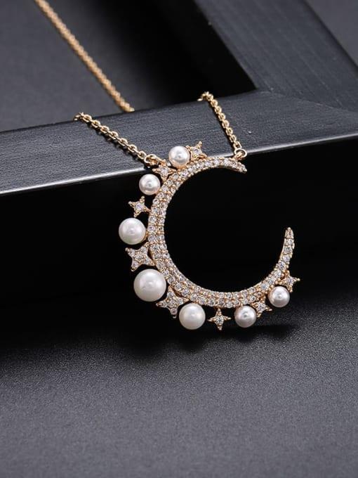 18K gold Brass Imitation Pearl Moon Minimalist Necklace