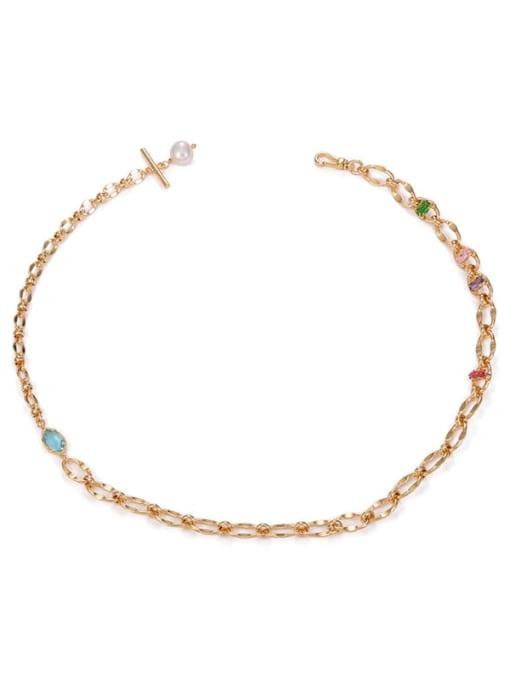 ACCA Brass Imitation Pearl Irregular Hip Hop Necklace 0