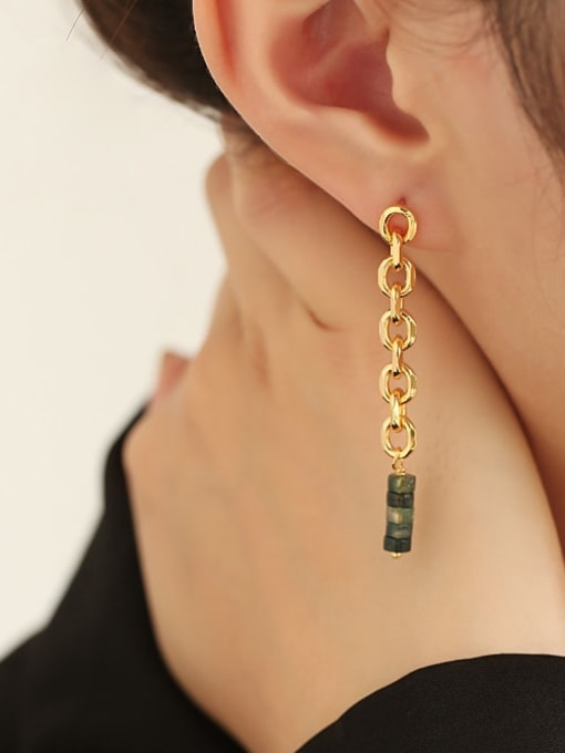 TINGS Brass Cubic Zirconia Tassel Hip Hop Drop Earring 1