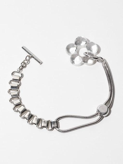 Transparent flowers (adjustable) Brass Hollow Heart Vintage Link Bracelet