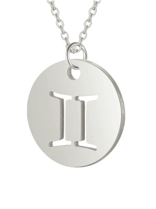 Gemini steel Titanium Steel Constellation Minimalist  Round Pendant Necklace