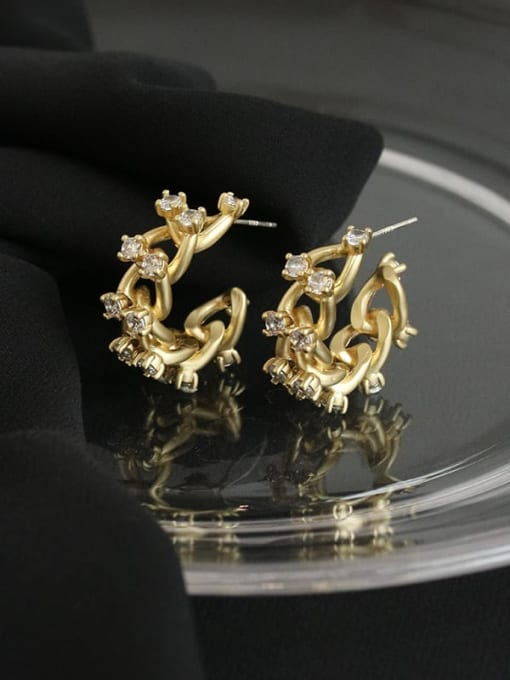 Five Color Brass Cubic Zirconia Geometric Hip Hop Stud Earring 3