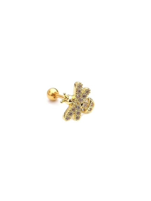 HISON Brass Cubic Zirconia Bee Cute Stud Earring 3
