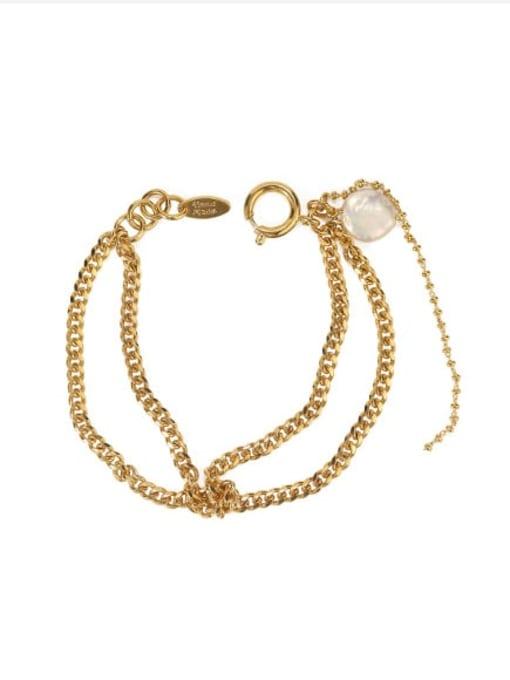 ACCA Brass Cats Eye Geometric Vintage Strand Bracelet 2