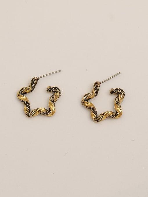 HYACINTH Brass Geometric Vintage Hoop Earring 2