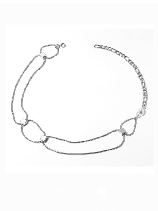 Titanium steel necklace Brass Hollow Geometric  Chain Vintage Necklace