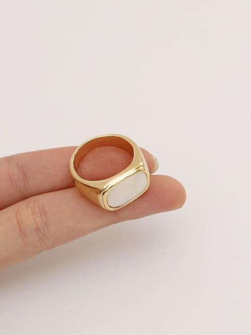 HYACINTH Brass Shell Geometric Vintage Band Ring 0