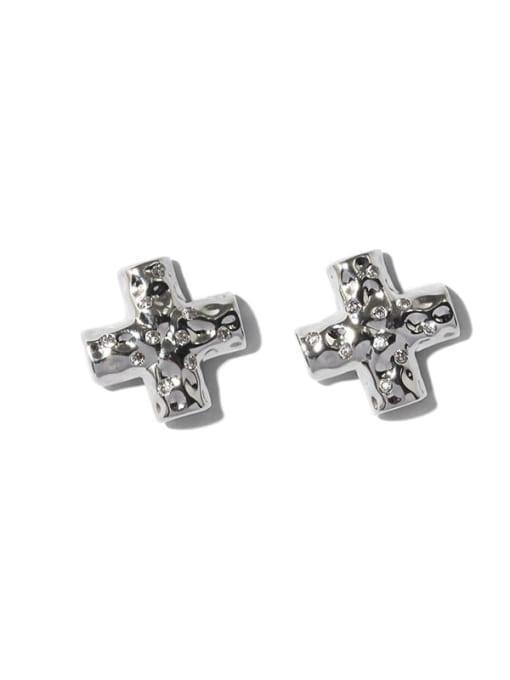 TINGS Brass Cross Minimalist Stud Earring 3