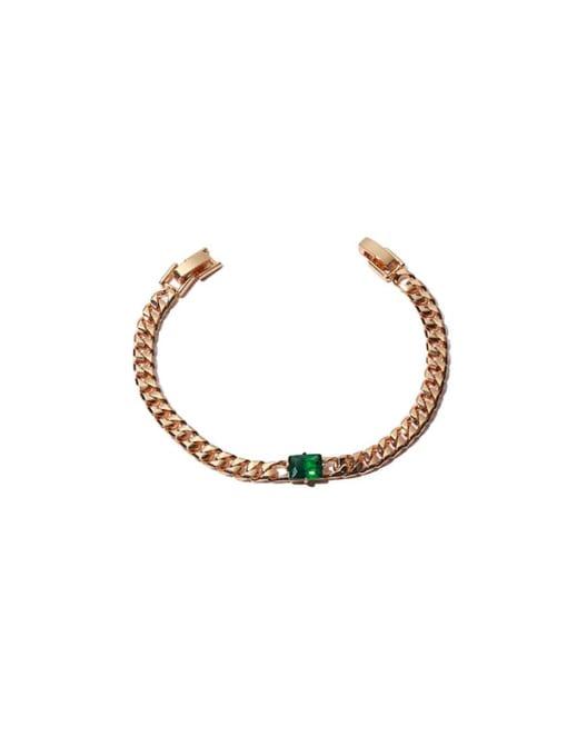 Green zirconium Bracelet Brass Cubic Zirconia Geometric Hip Hop Necklace