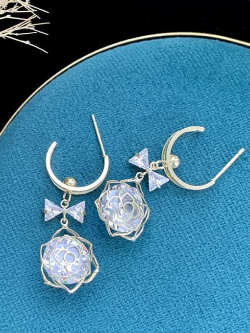 SUUTO Brass Cubic Zirconia Flower Hip Hop Drop Earring 1
