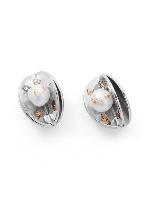 TINGS Brass Imitation Pearl Geometric Hip Hop Stud Earring 0