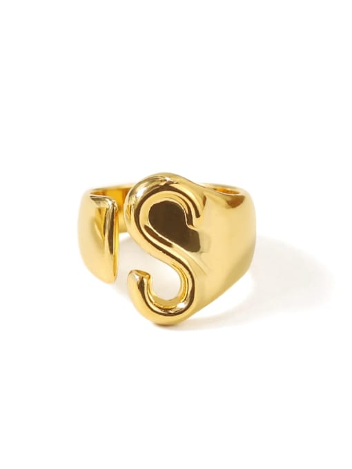 S Brass  26 Letter Vintage Band Ring