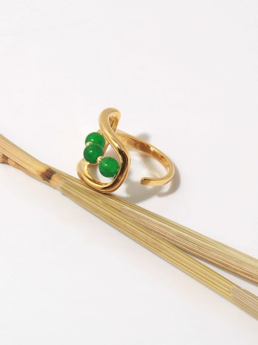 TINGS Brass Bead Geometric Vintage Band Ring 3
