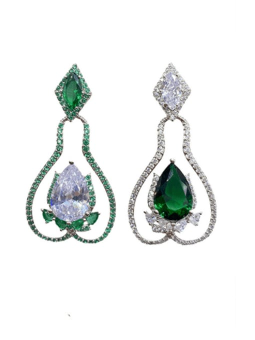 Platinum and silver Brass Cubic Zirconia Geometric Trend Drop Earring