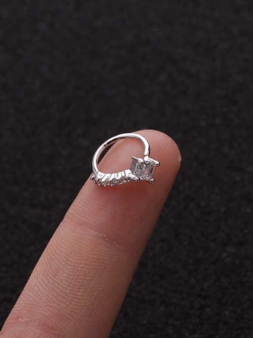 Square(Single) Brass Cubic Zirconia Heart Cute Huggie Earring