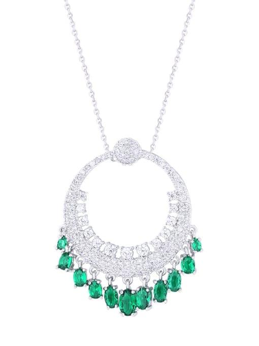 Emerald Brass Cubic Zirconia Round Vintage Necklace