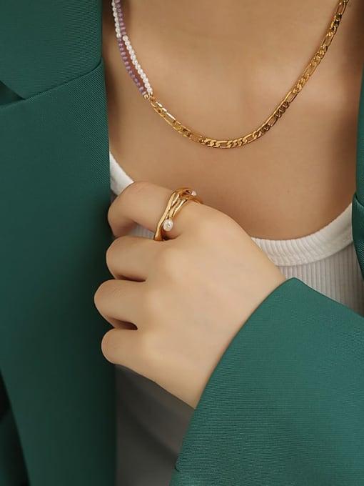 TINGS Brass Imitation Pearl Geometric Vintage Band Ring 1