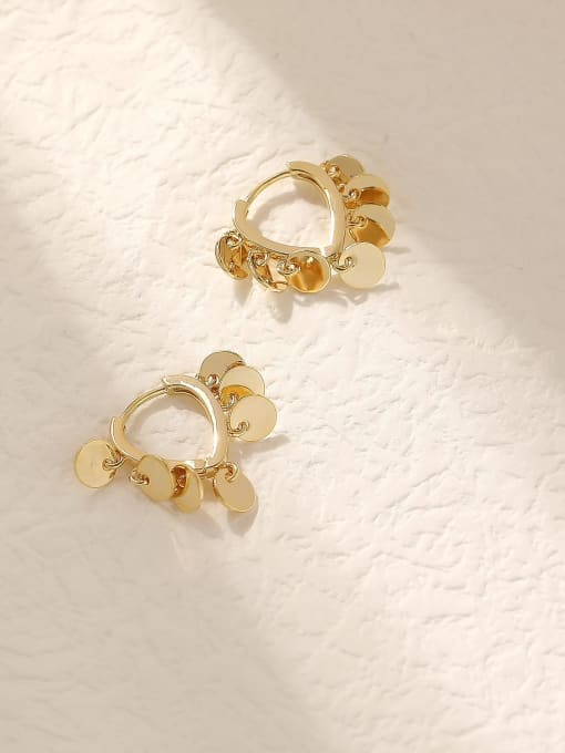 14k Gold Brass Hollow Heart Vintage Huggie Trend Korean Fashion Earring