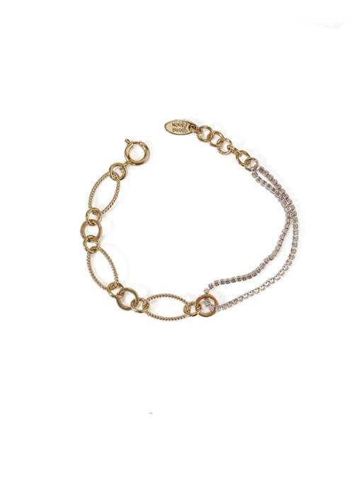 ACCA Brass Cubic Zirconia  Vintage Asymmetric hollow chain Link Bracelet