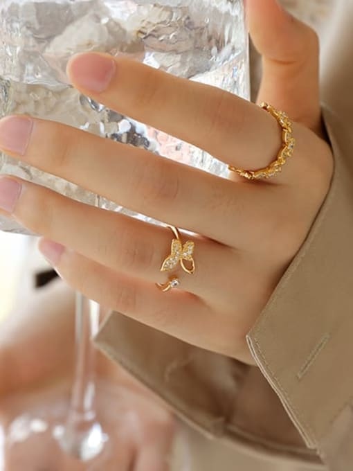 Five Color Brass Cubic Zirconia Butterfly Minimalist Band Ring 2