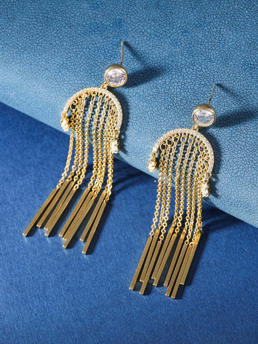 OUOU Brass Cubic Zirconia Tassel Ethnic Threader Earring 2