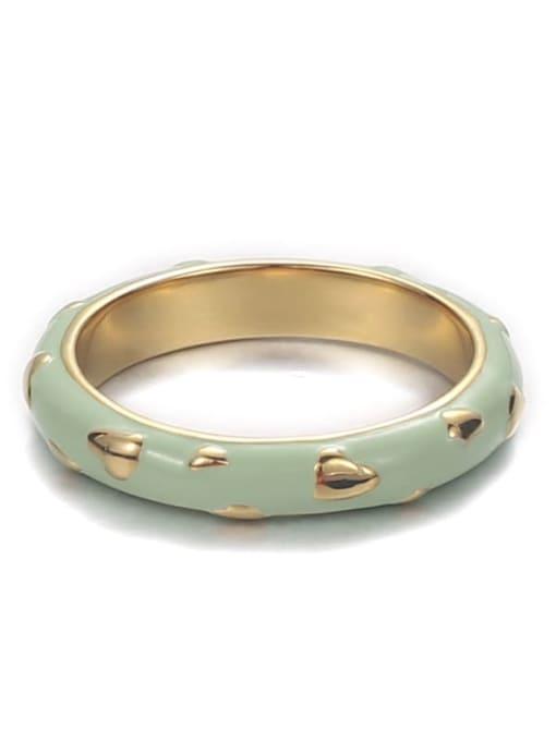 Mint Green Brass Enamel Round Minimalist Band Ring