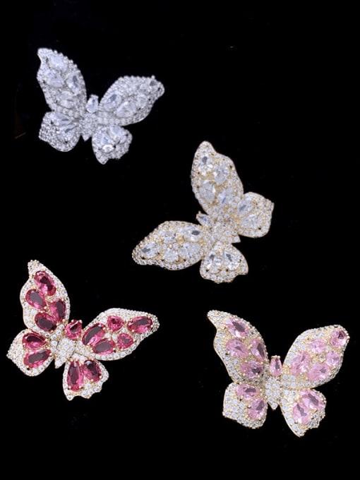 SUUTO Brass Cubic Zirconia Butterfly Trend Stud Earring