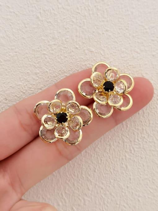 HYACINTH Brass Cubic Zirconia Flower Vintage Stud Earring 3