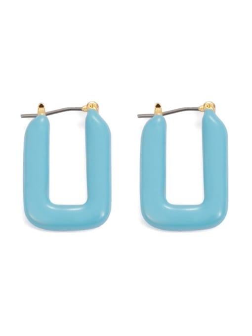 U-shaped ear buckle Brass Enamel Geometric Minimalist Stud Earring