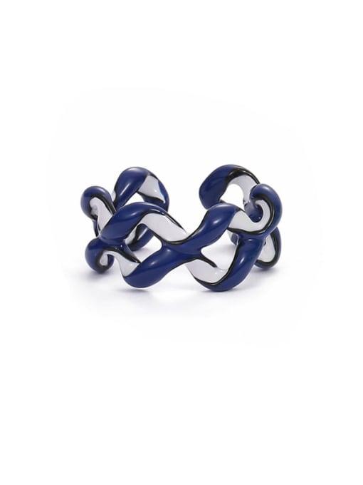 Blue white Zinc Alloy Enamel Geometric Minimalist Stackable Ring