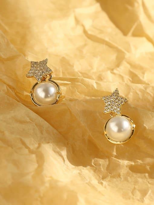 HYACINTH Brass Cubic Zirconia Star Bohemia Stud Earring 3