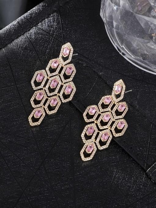 OUOU Brass Cubic Zirconia Geometric Statement Drop Earring 2