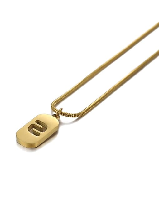 Number 2 Titanium Steel Number Minimalist Pendant Necklace
