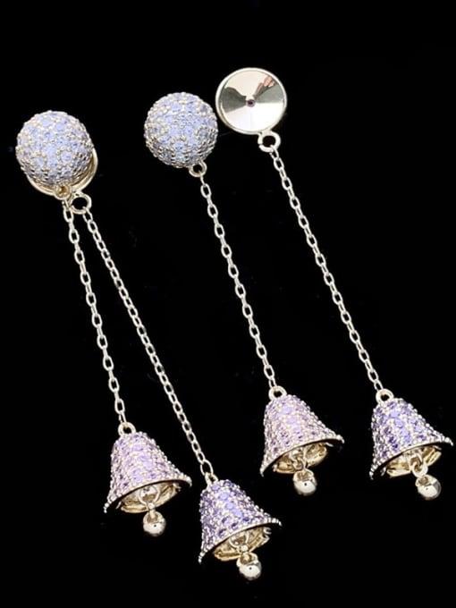 SUUTO Brass Cubic Zirconia Bell Luxury Threader Earring 0