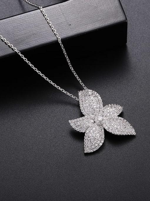 YILLIN Brass Cubic Zirconia Flower Luxury Necklace