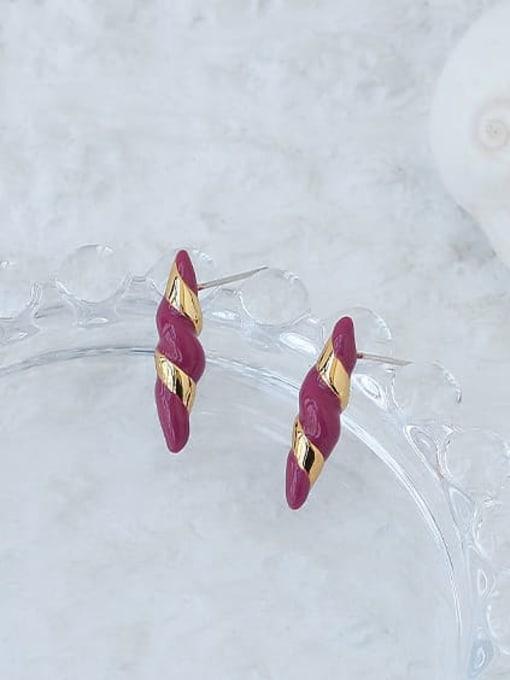 ACCA Brass Enamel Geometric Vintage Stud Earring 3