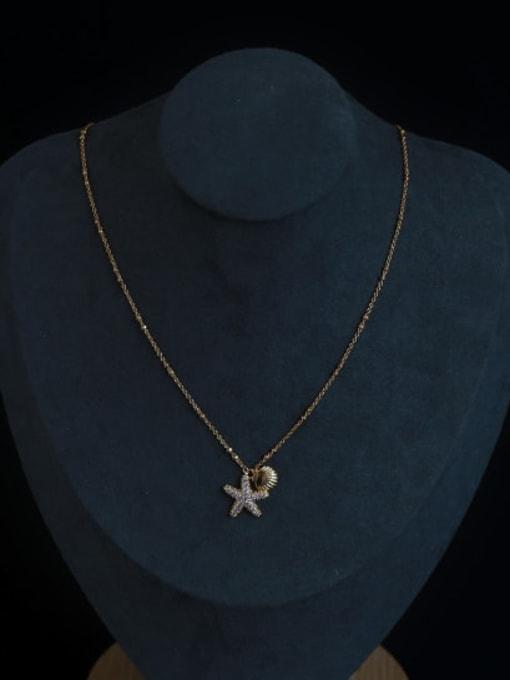 Five Color Brass Cubic Zirconia Star Minimalist Necklace 3