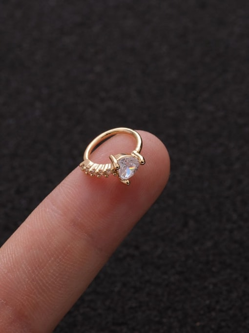 Gold heart(Single) Brass Cubic Zirconia Heart Cute Huggie Earring