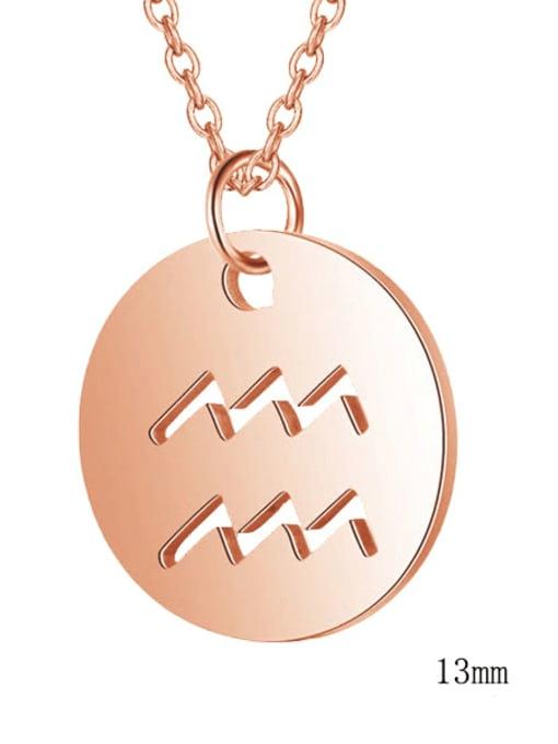 Aquarius rose gold Titanium Steel Constellation Minimalist  Round Pendant Necklace