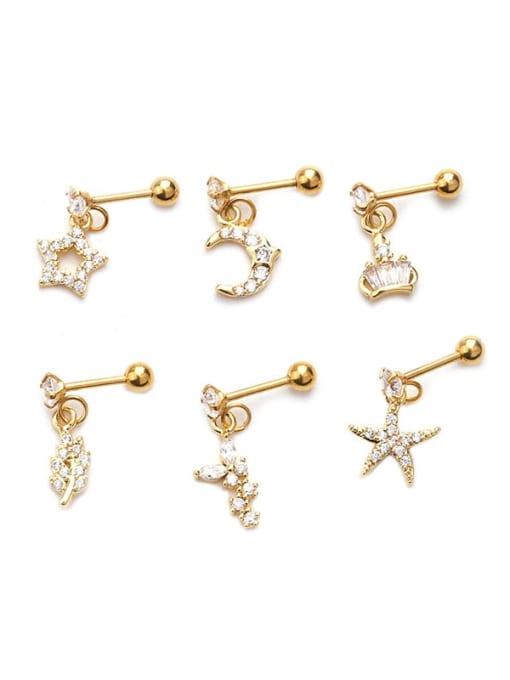 HISON Brass Cubic Zirconia Geometric Cute Stud Earring 4