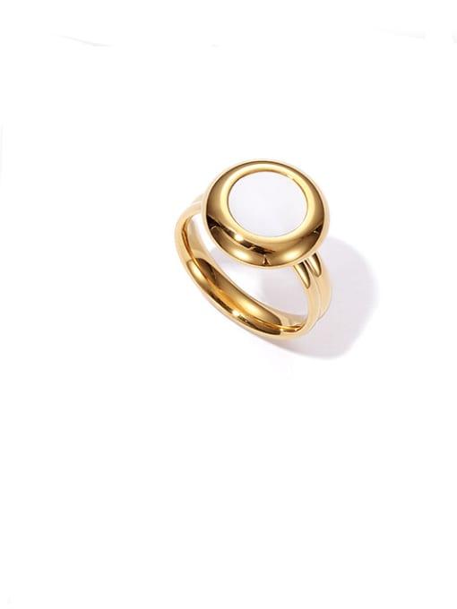 golden Titanium Steel Shell Round Vintage Band Ring