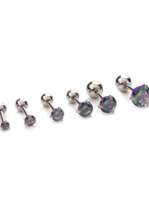HISON Stainless steel Cubic Zirconia Multi Color Ball Minimalist Stud Earring 2