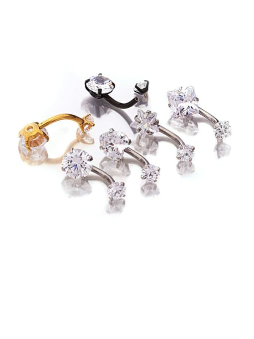 HISON Stainless steel Cubic Zirconia Star Hip Hop Stud Earring OR Belly Estuds 1
